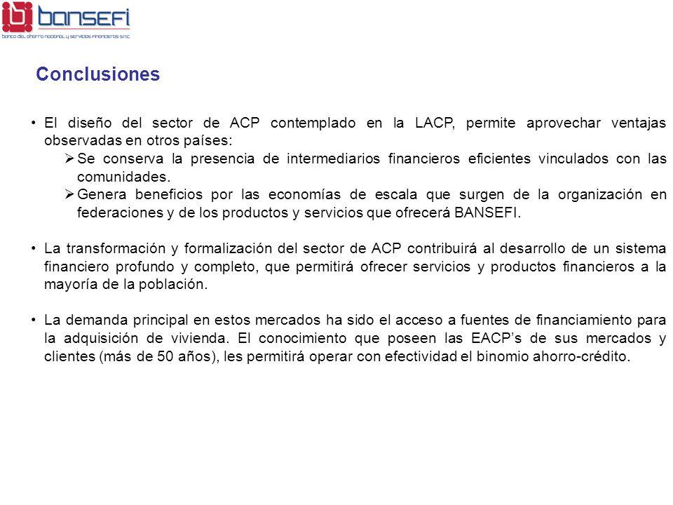 Conclusiones El diseño del sector de ACP contemplado en la LACP, permite aprovechar ventajas observadas en otros países: