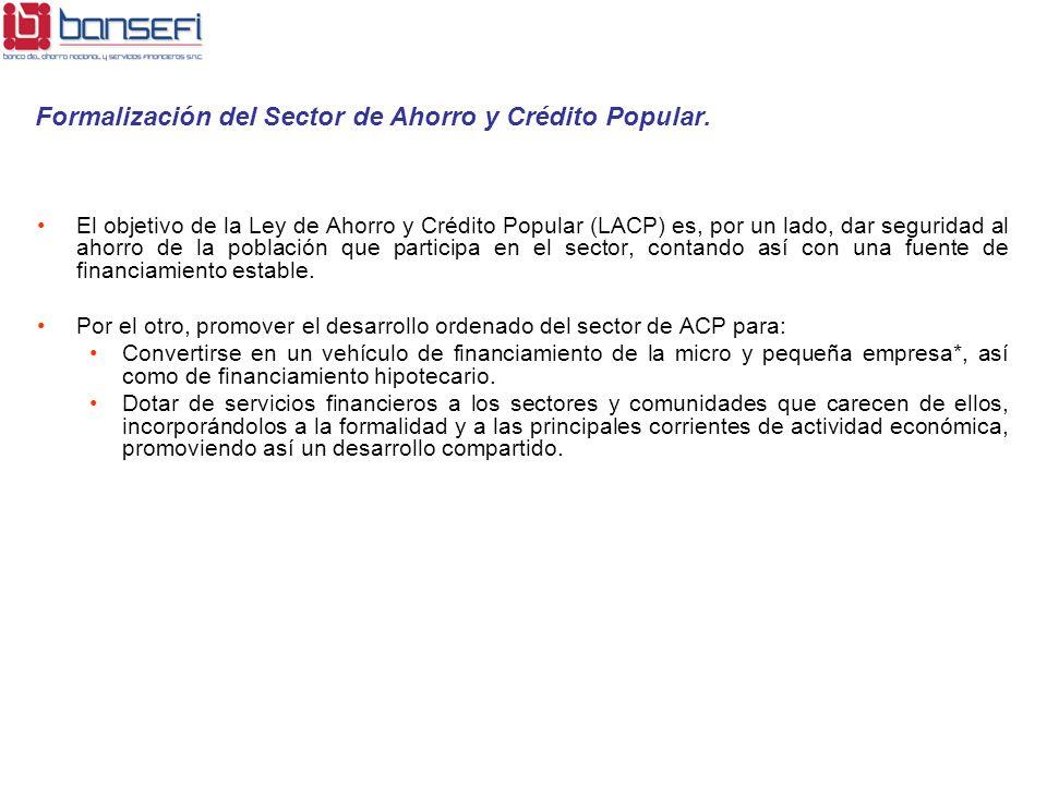 Formalización del Sector de Ahorro y Crédito Popular.