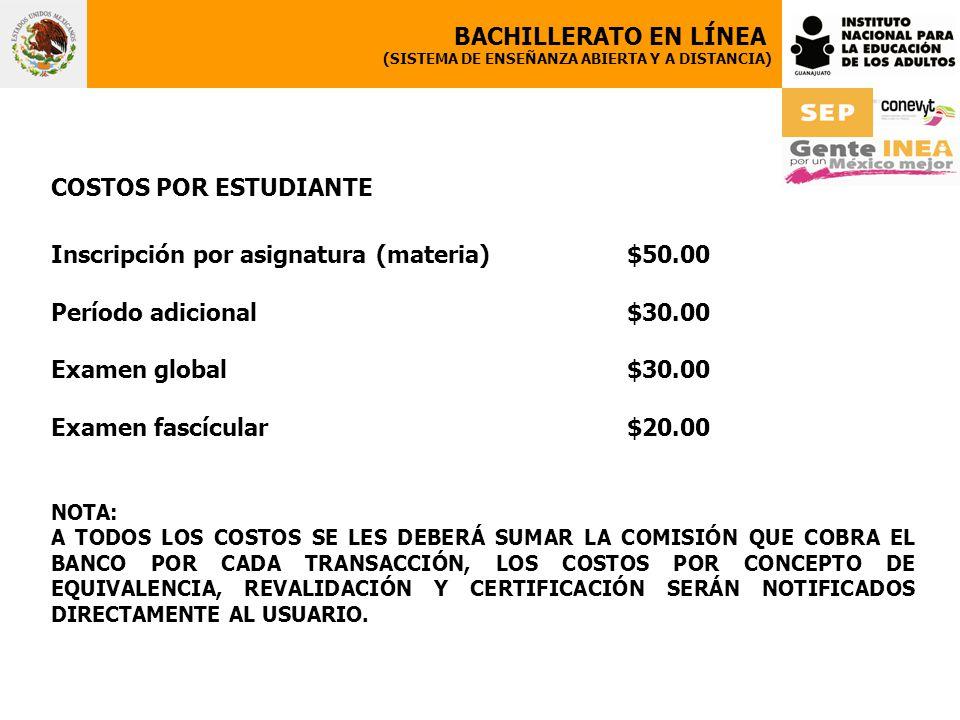 Inscripción por asignatura (materia) $50.00 Período adicional $30.00