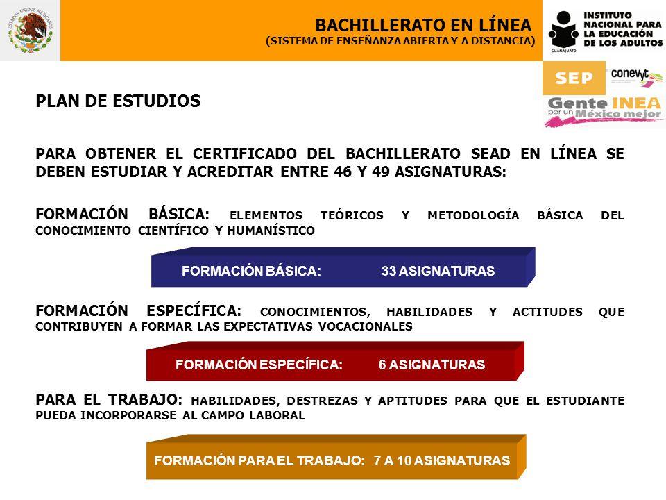 BACHILLERATO EN LÍNEA PLAN DE ESTUDIOS