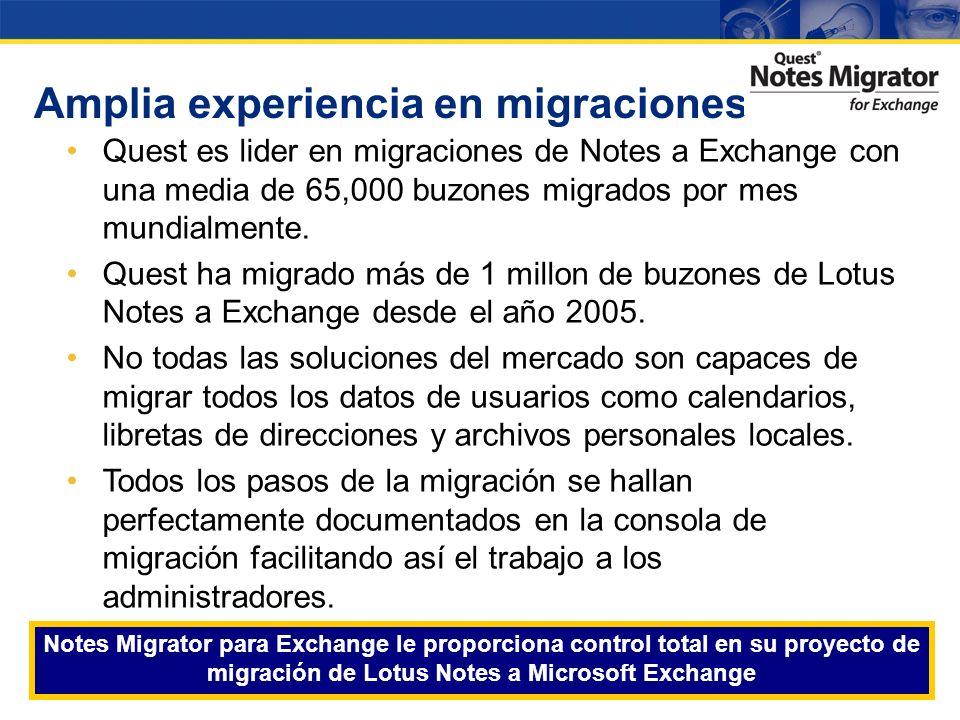 Amplia experiencia en migraciones