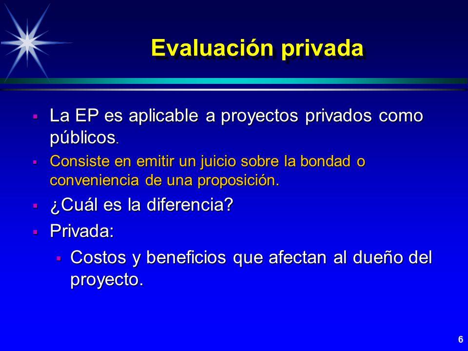 Evaluación privada La EP es aplicable a proyectos privados como públicos.