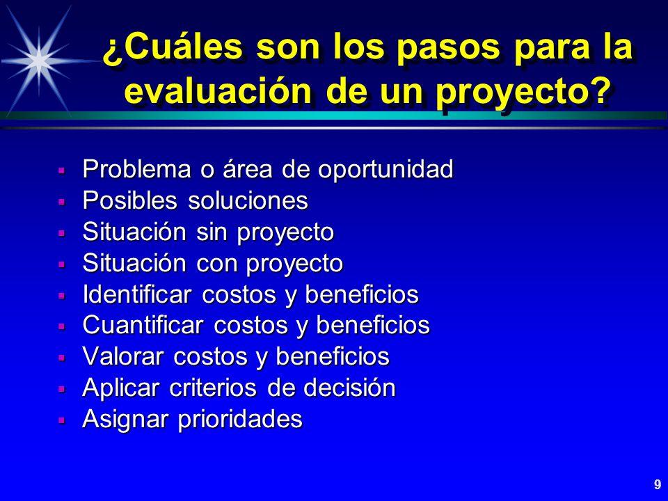 ¿Cuáles son los pasos para la evaluación de un proyecto