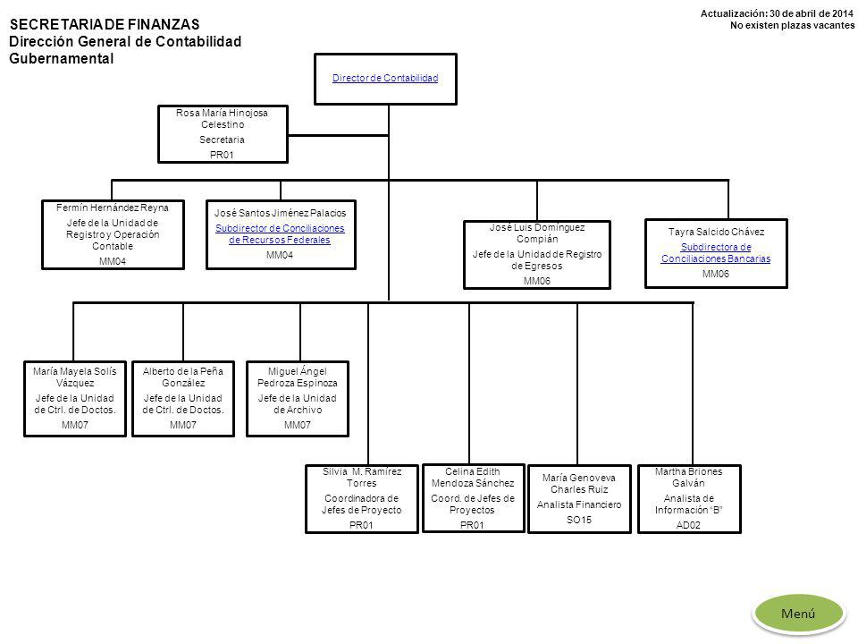 SECRETARIA DE FINANZAS Dirección General de Contabilidad Gubernamental