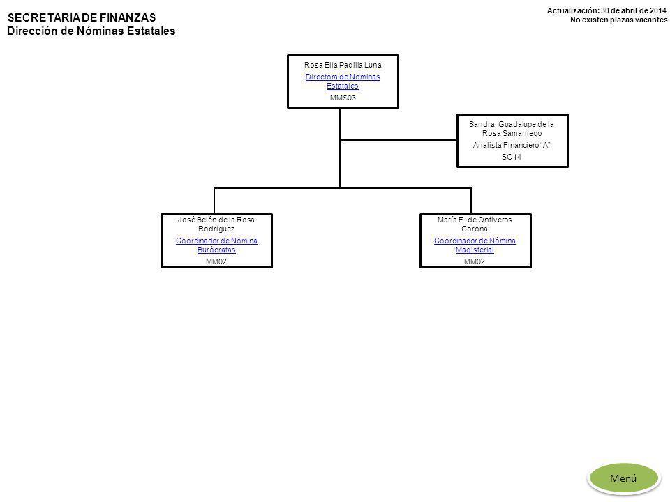 SECRETARIA DE FINANZAS Dirección de Nóminas Estatales