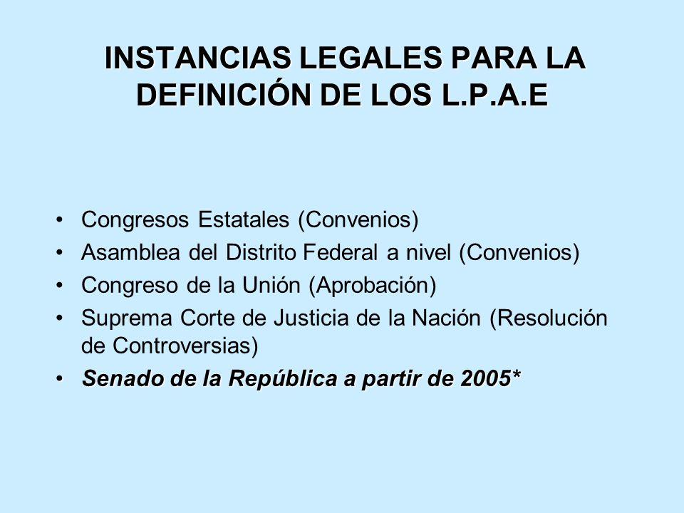 INSTANCIAS LEGALES PARA LA DEFINICIÓN DE LOS L.P.A.E