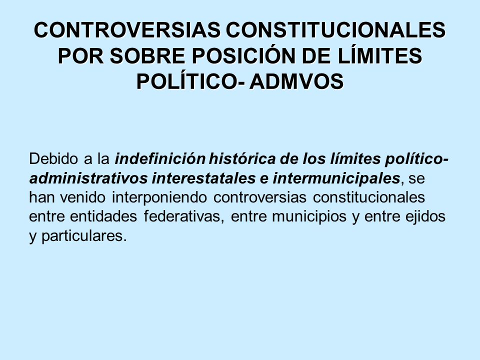 CONTROVERSIAS CONSTITUCIONALES POR SOBRE POSICIÓN DE LÍMITES POLÍTICO- ADMVOS