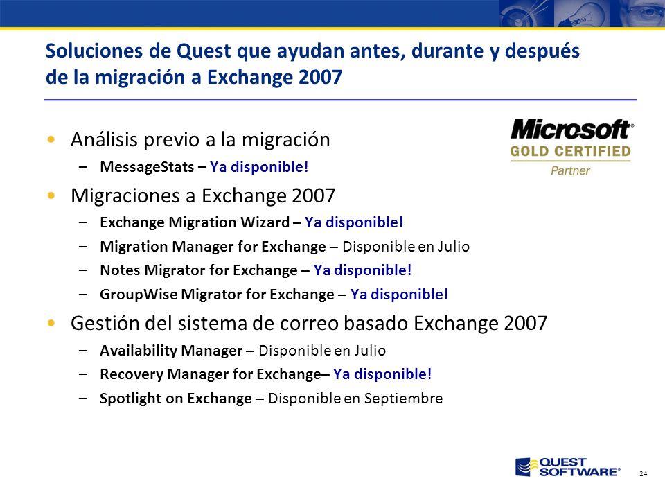 Análisis previo a la migración Migraciones a Exchange 2007