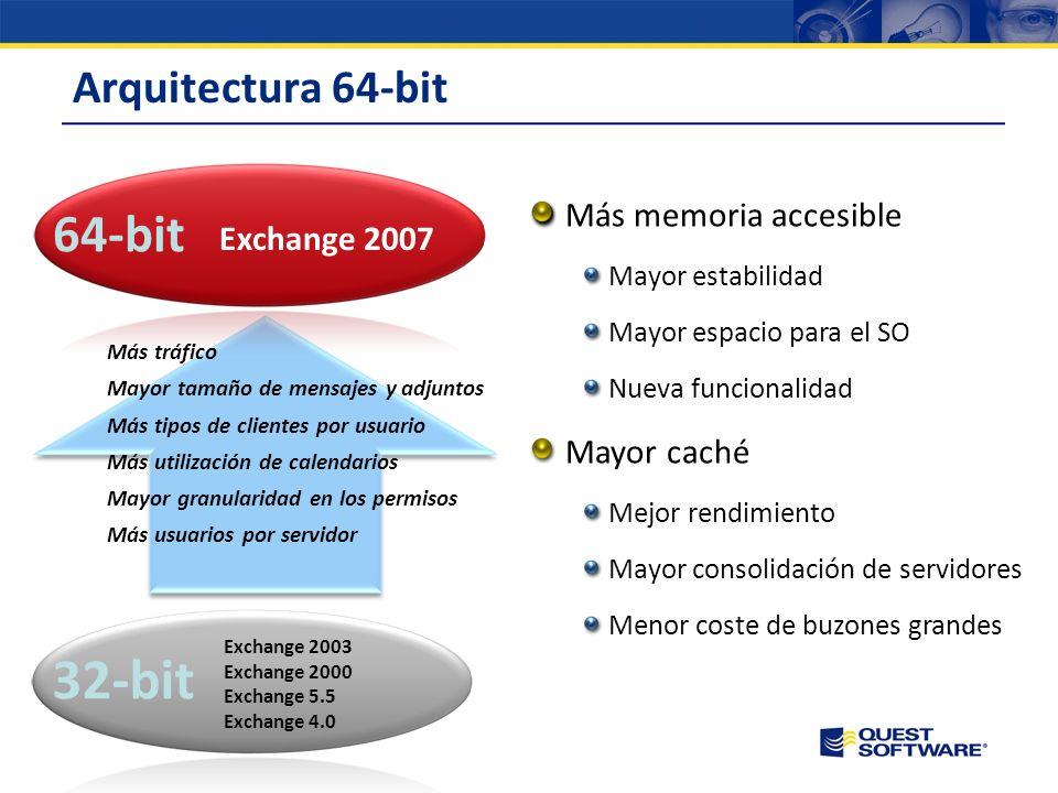 32-bit 64-bit Arquitectura 64-bit Más memoria accesible Exchange 2007