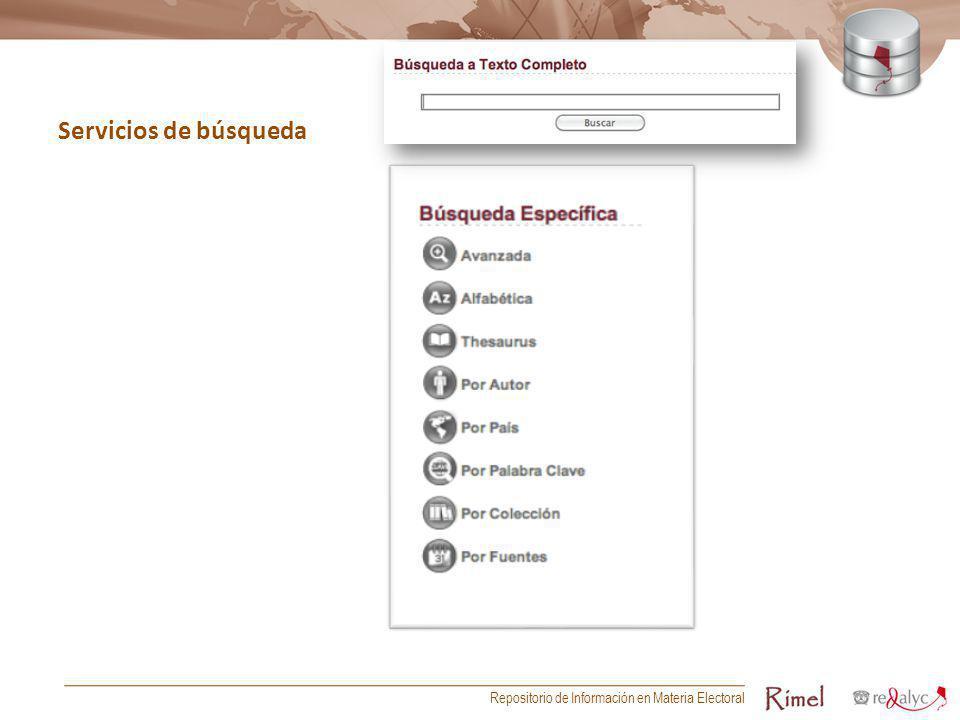 Servicios de búsqueda Repositorio de Información en Materia Electoral