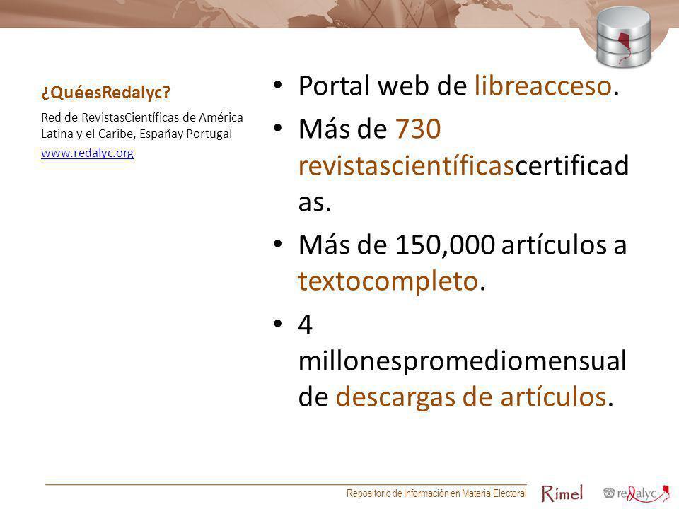 Portal web de libreacceso. Más de 730 revistascientíficascertificadas.