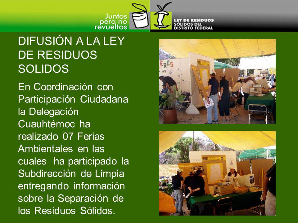 DIFUSIÓN A LA LEY DE RESIDUOS SOLIDOS