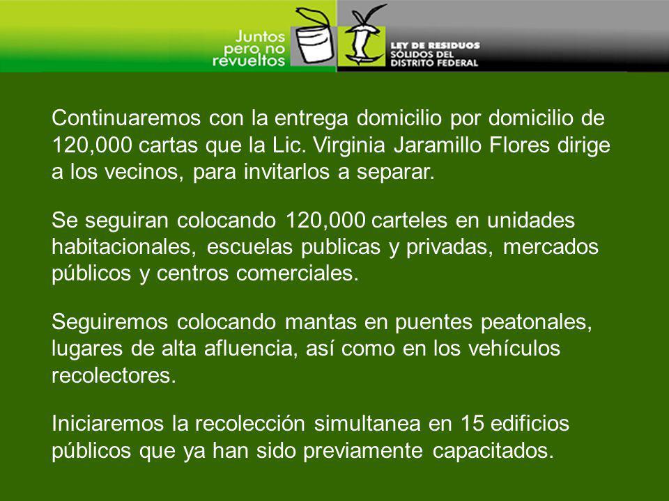 Continuaremos con la entrega domicilio por domicilio de 120,000 cartas que la Lic. Virginia Jaramillo Flores dirige a los vecinos, para invitarlos a separar.