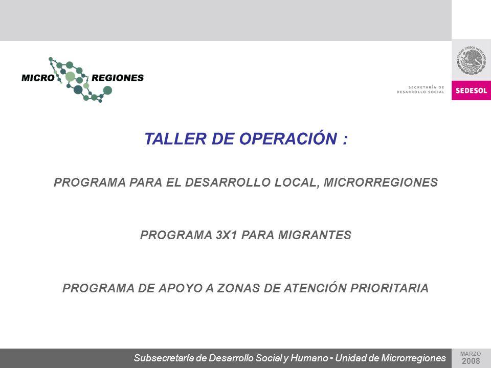 TALLER DE OPERACIÓN : PROGRAMA PARA EL DESARROLLO LOCAL, MICRORREGIONES. PROGRAMA 3X1 PARA MIGRANTES.