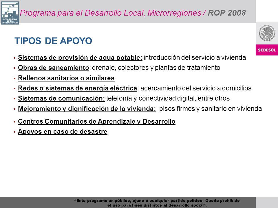 Programa para el Desarrollo Local, Microrregiones / ROP 2008