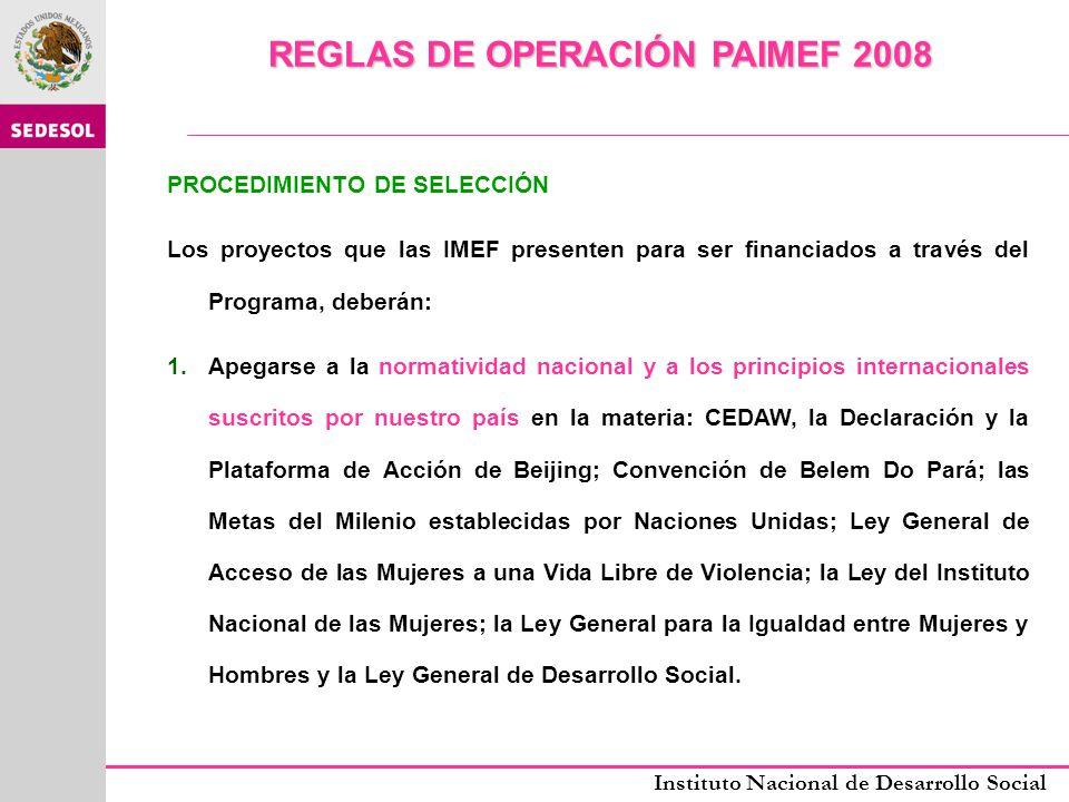REGLAS DE OPERACIÓN PAIMEF 2008