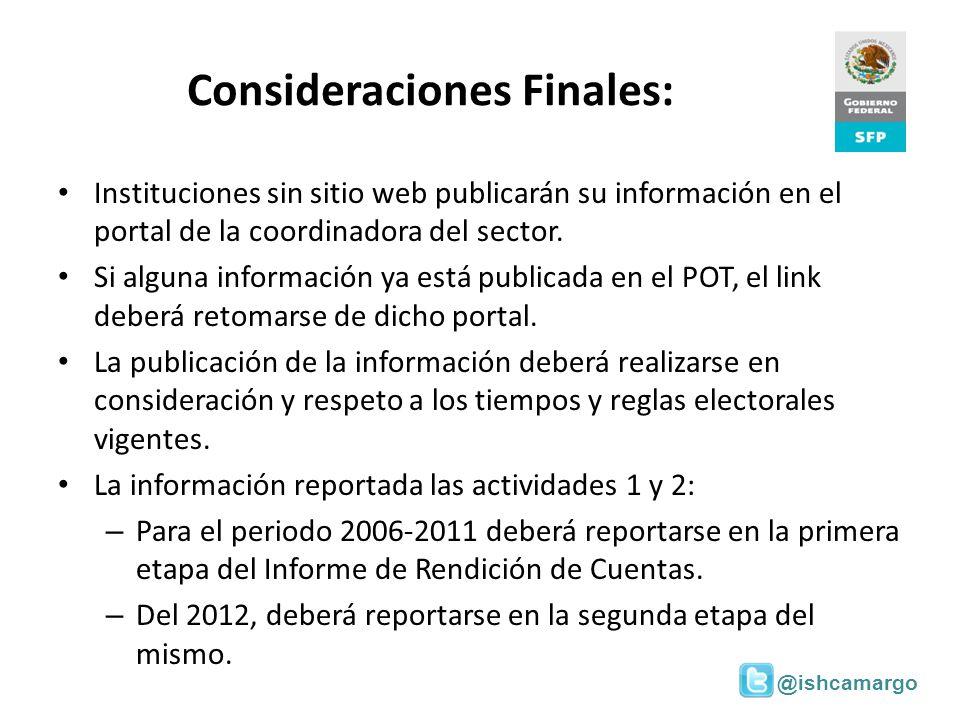 Consideraciones Finales: