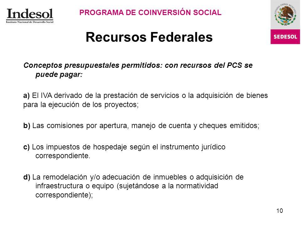 Recursos Federales PROGRAMA DE COINVERSIÓN SOCIAL