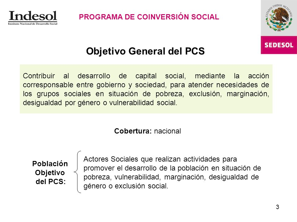 Objetivo General del PCS