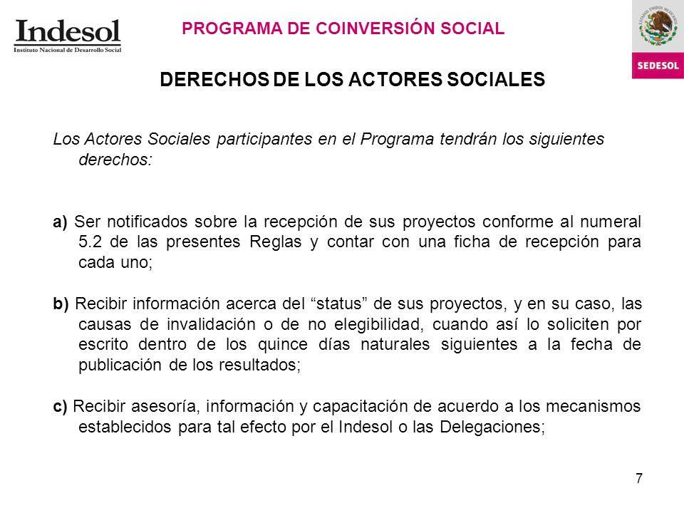 DERECHOS DE LOS ACTORES SOCIALES