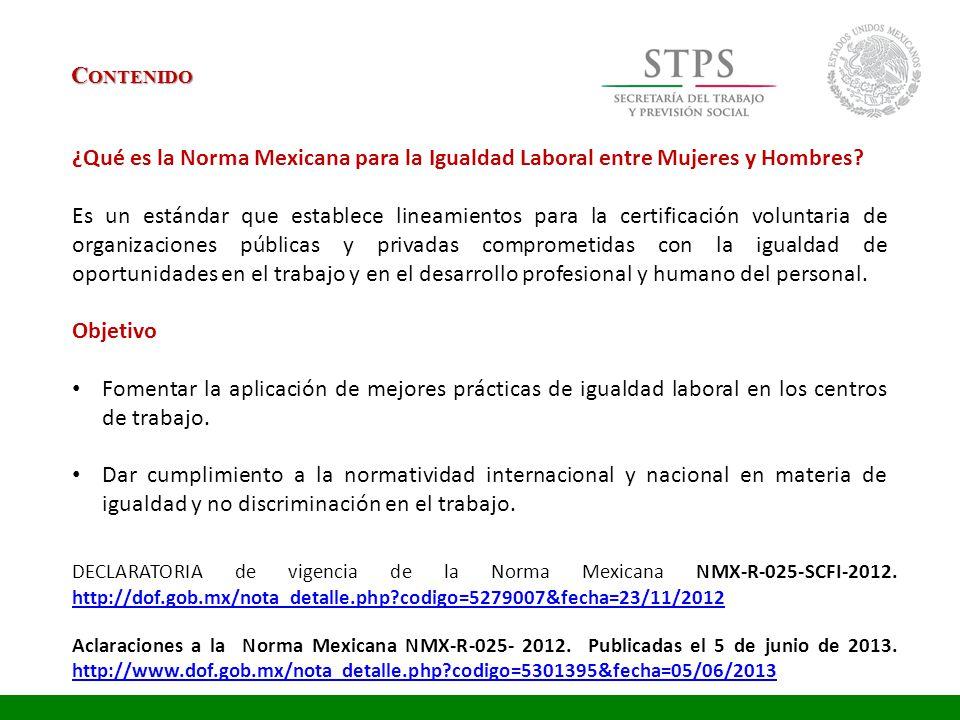 Contenido ¿Qué es la Norma Mexicana para la Igualdad Laboral entre Mujeres y Hombres