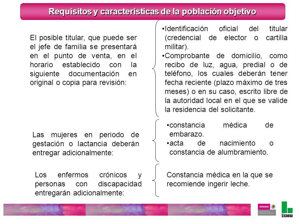 Requisitos y características de la población objetivo