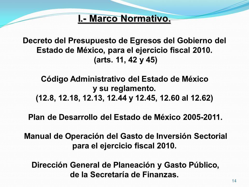 I.- Marco Normativo. Decreto del Presupuesto de Egresos del Gobierno del. Estado de México, para el ejercicio fiscal 2010.