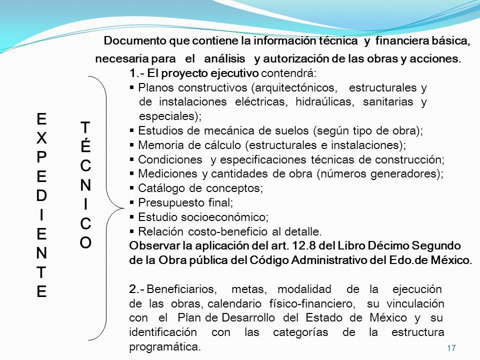 Documento que contiene la información técnica y financiera básica,