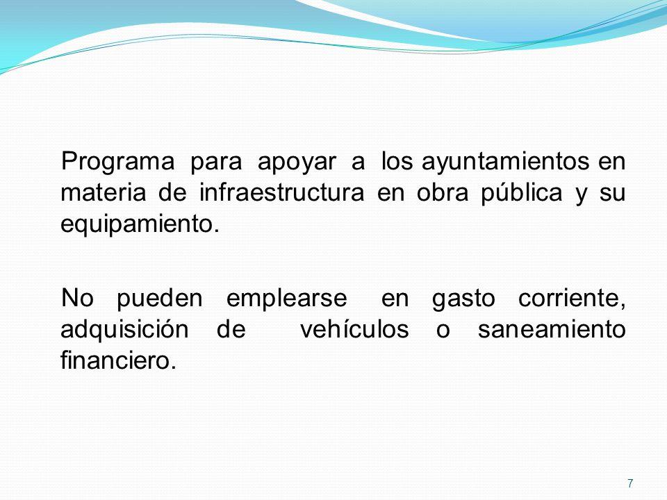 Programa para apoyar a los ayuntamientos en materia de infraestructura en obra pública y su equipamiento.