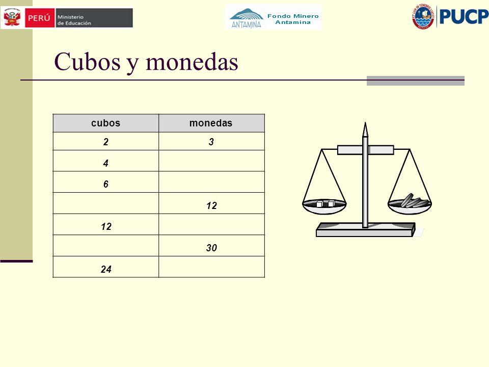 Cubos y monedas cubos monedas 2 3 4 6 12 30 24