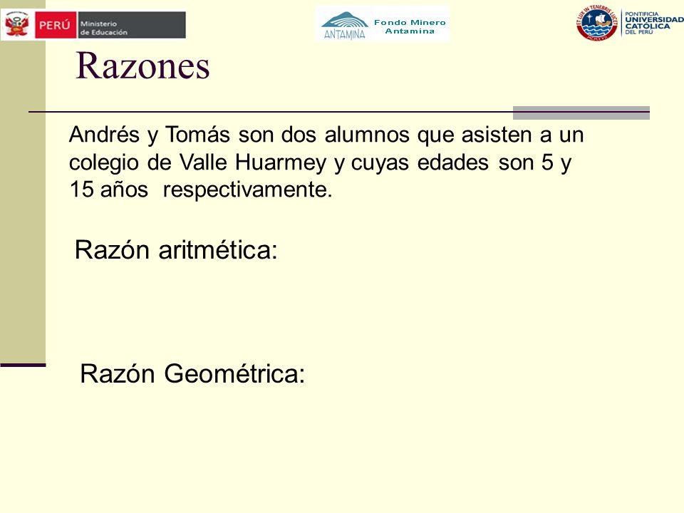 Razones Razón aritmética: Razón Geométrica: