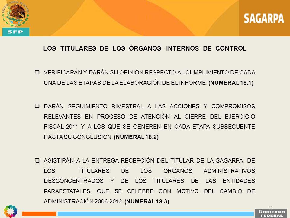 LOS TITULARES DE LOS ÓRGANOS INTERNOS DE CONTROL