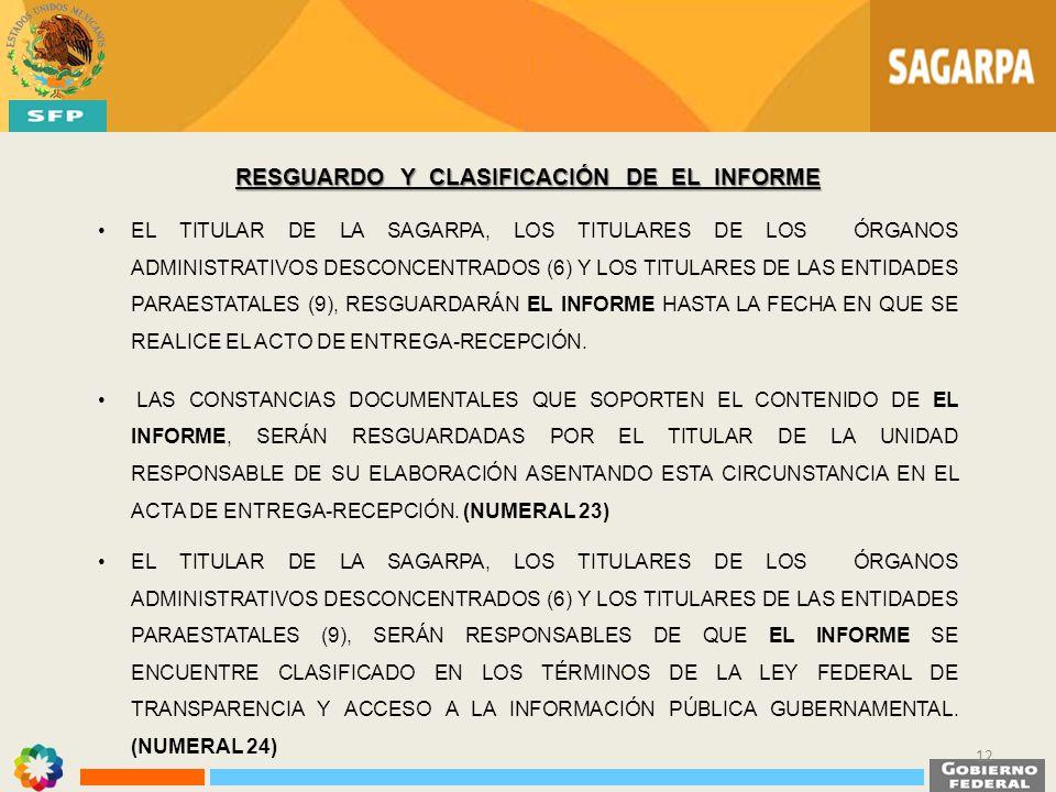 RESGUARDO Y CLASIFICACIÓN DE EL INFORME