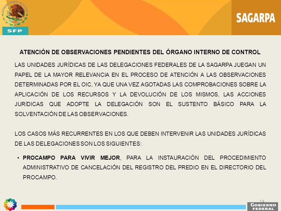 ATENCIÓN DE OBSERVACIONES PENDIENTES DEL ÓRGANO INTERNO DE CONTROL