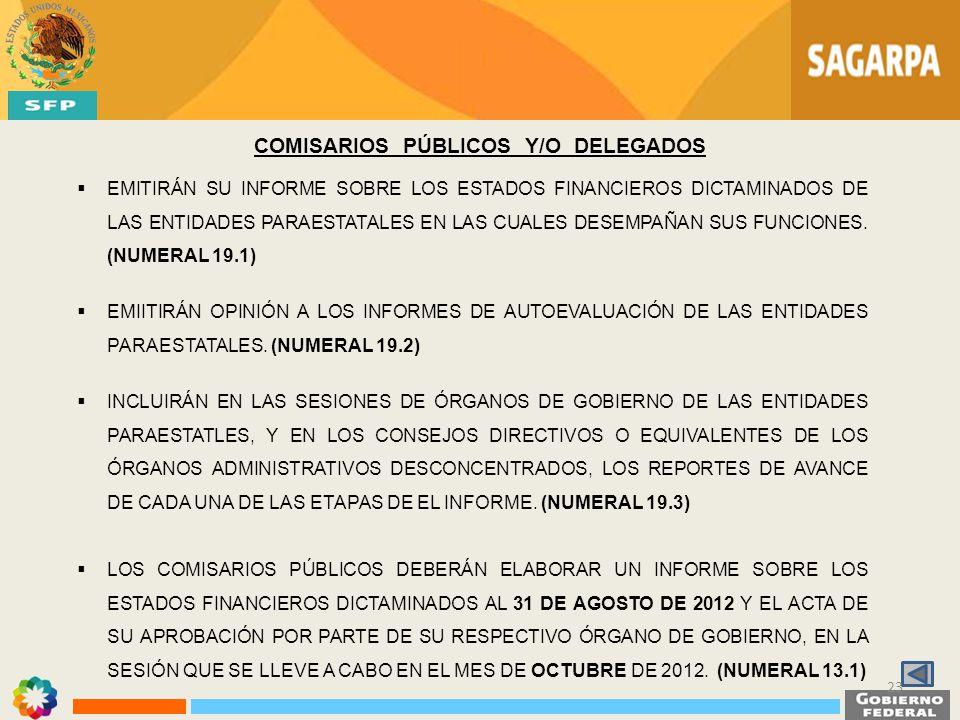 COMISARIOS PÚBLICOS Y/O DELEGADOS