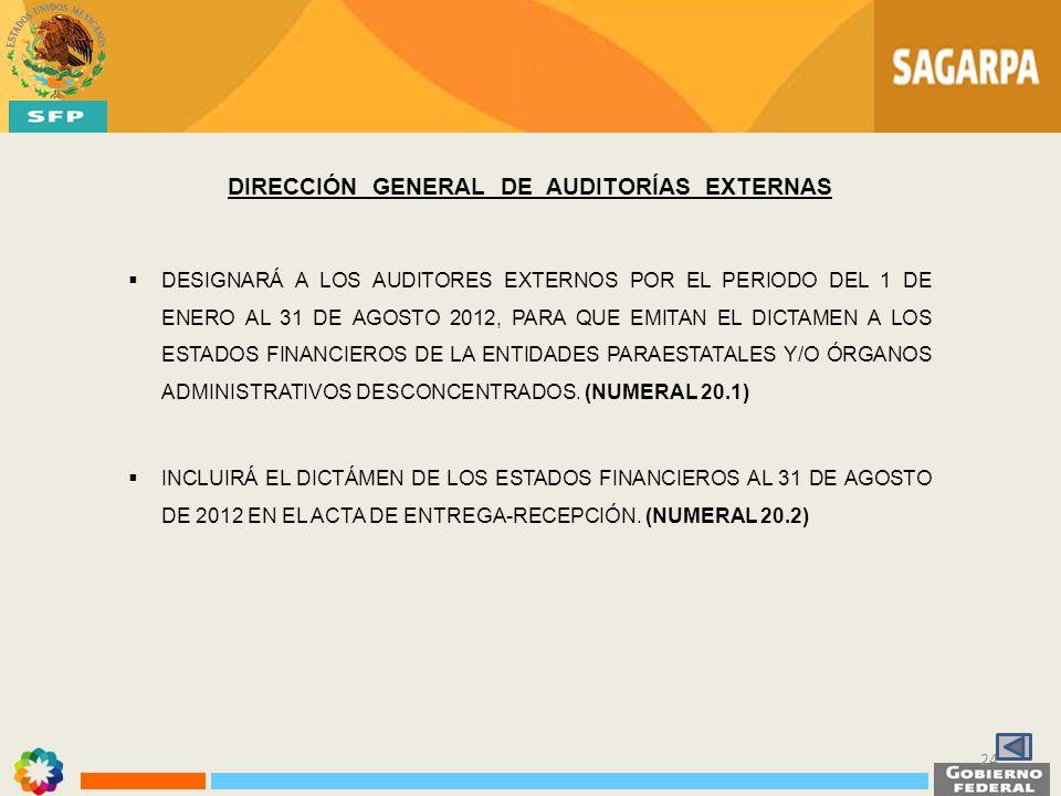 DIRECCIÓN GENERAL DE AUDITORÍAS EXTERNAS