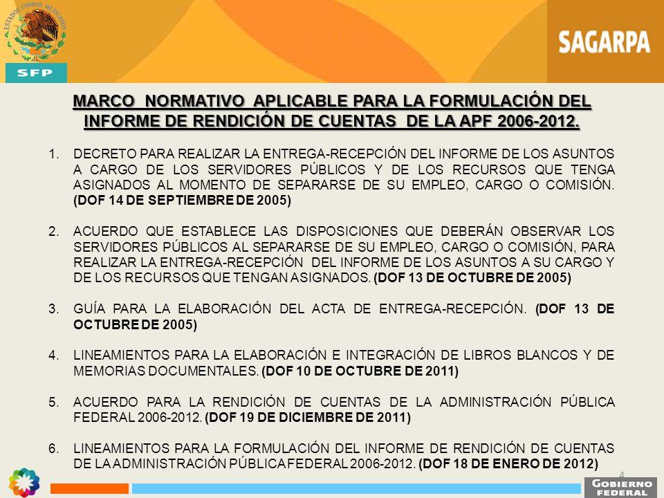 MARCO NORMATIVO APLICABLE PARA LA FORMULACIÓN DEL INFORME DE RENDICIÓN DE CUENTAS DE LA APF 2006-2012.