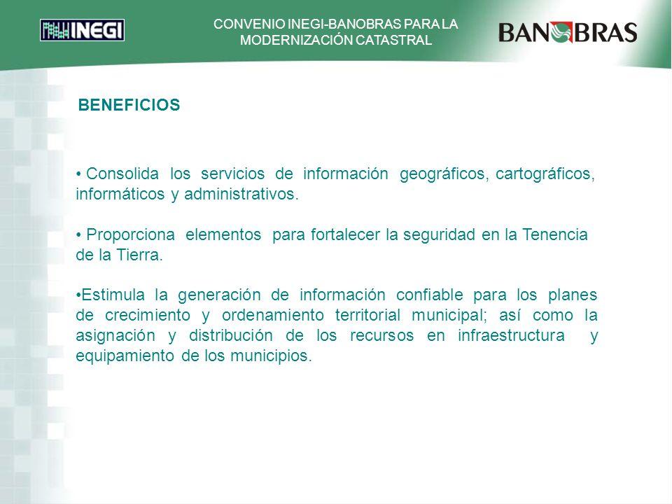 BENEFICIOS Consolida los servicios de información geográficos, cartográficos, informáticos y administrativos.
