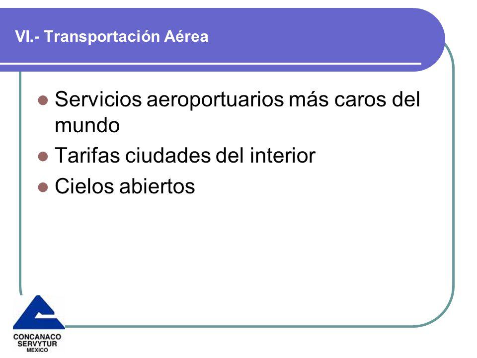 VI.- Transportación Aérea