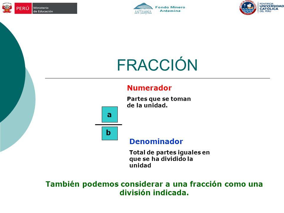 También podemos considerar a una fracción como una división indicada.