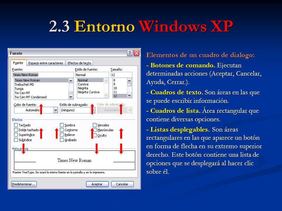 2.3 Entorno Windows XP Elementos de un cuadro de dialogo:
