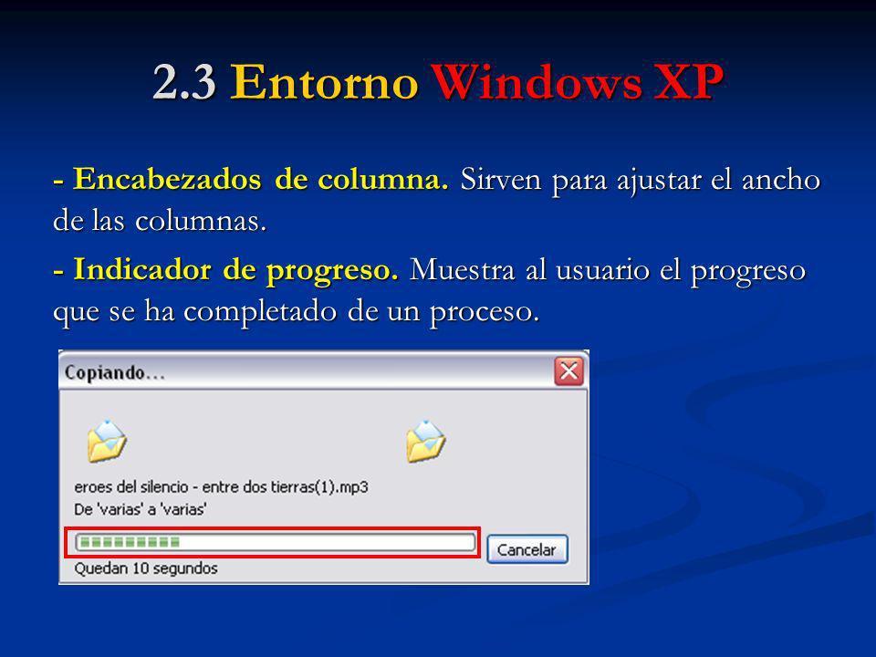 2.3 Entorno Windows XP - Encabezados de columna. Sirven para ajustar el ancho de las columnas.