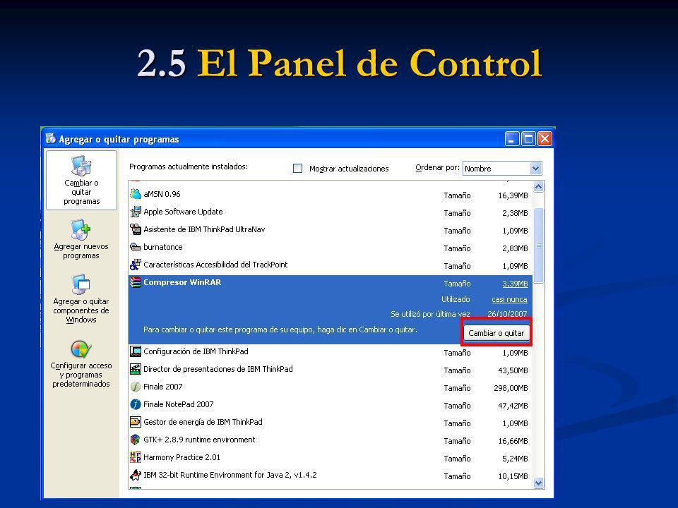 2.5 El Panel de Control Eliminar un programa existente