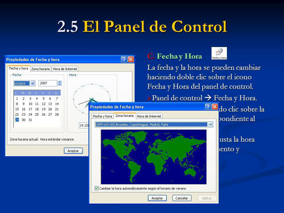 2.5 El Panel de Control C. Fecha y Hora