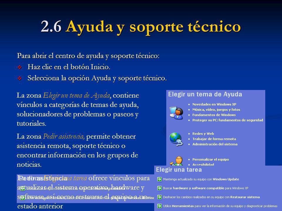 2.6 Ayuda y soporte técnico