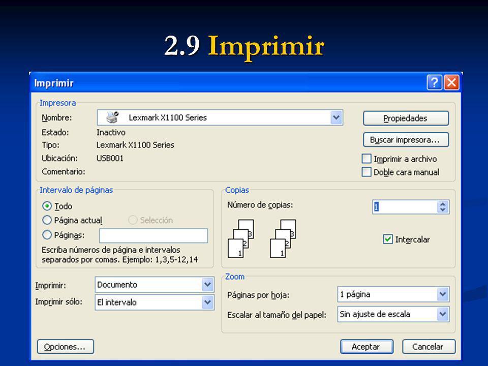 2.9 Imprimir Indicar las páginas que se desean imprimir: