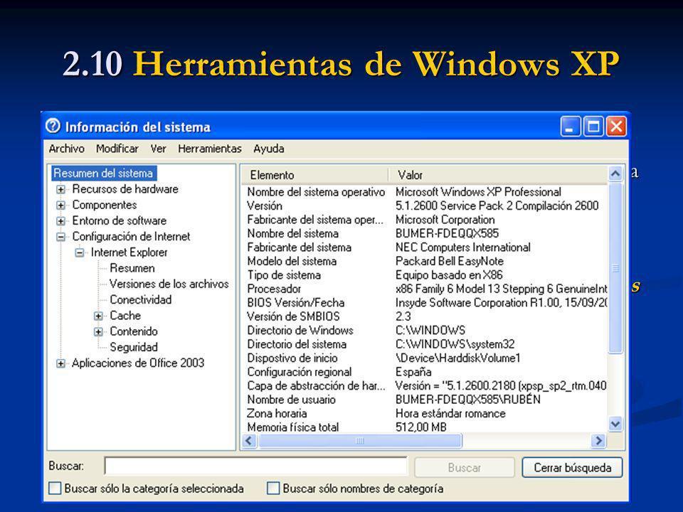 2.10 Herramientas de Windows XP