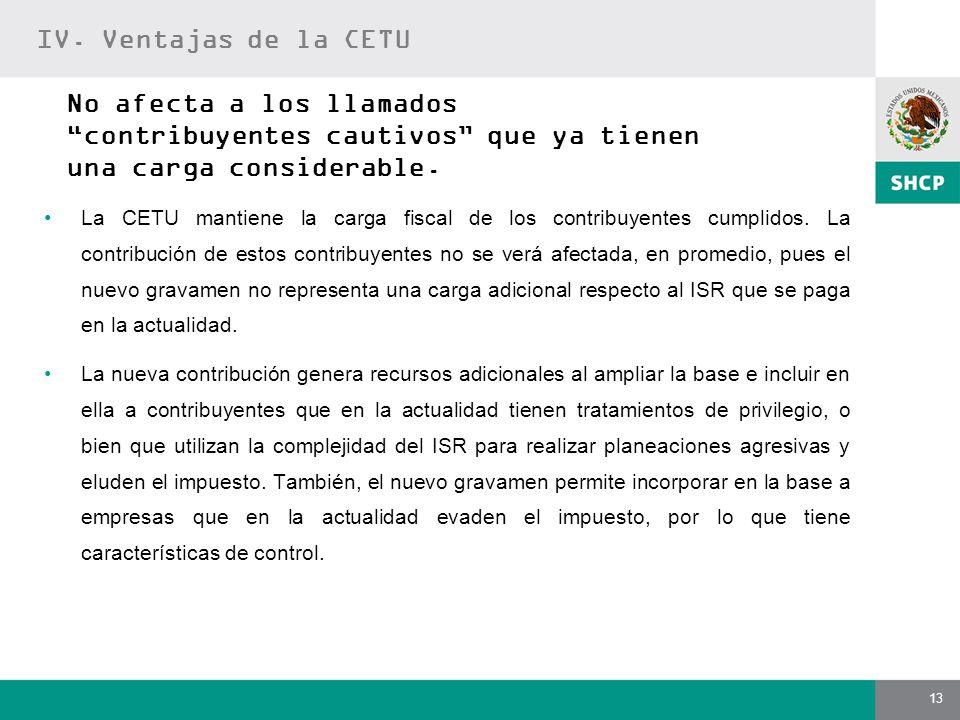 IV. Ventajas de la CETU No afecta a los llamados contribuyentes cautivos que ya tienen una carga considerable.