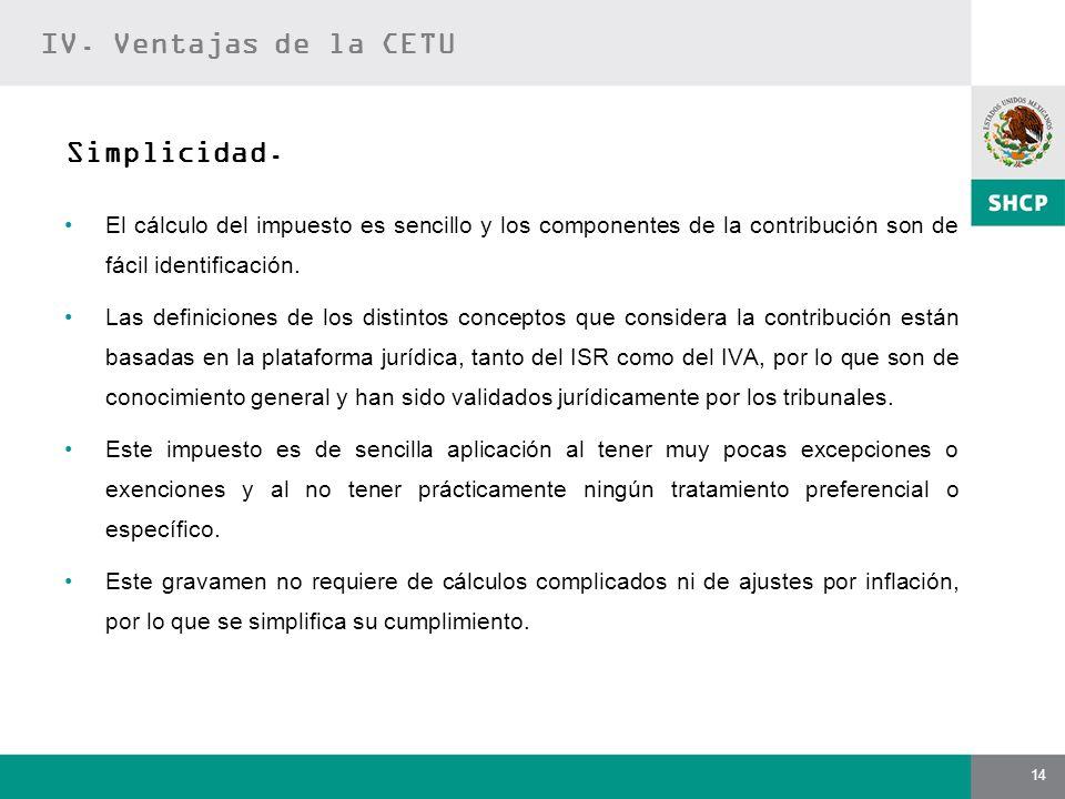 IV. Ventajas de la CETU Simplicidad.