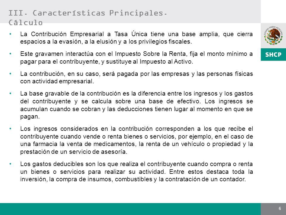 III. Características Principales. Cálculo